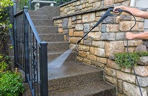 Power washing stairway