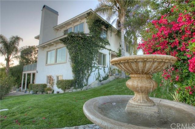 lush backyard with fountain