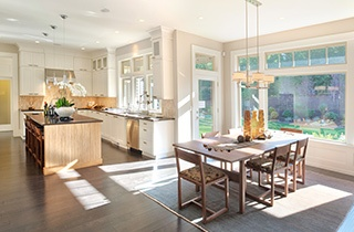 Elegant dining and kitchen area